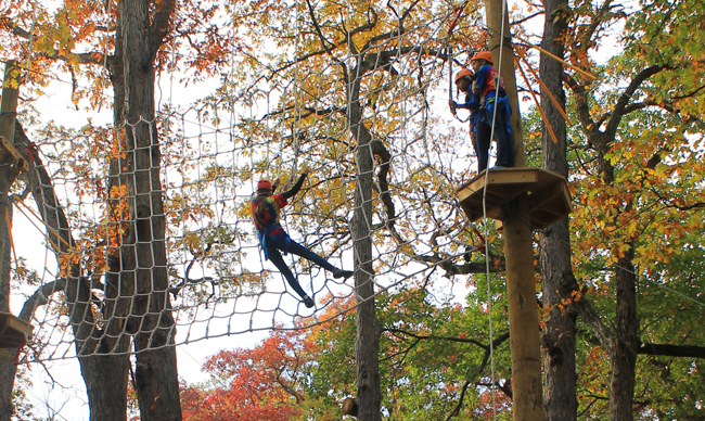 Climbers on the high roped course