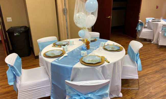 Table set up and decor at a room rental
