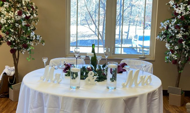 Festive table set up at a room rental